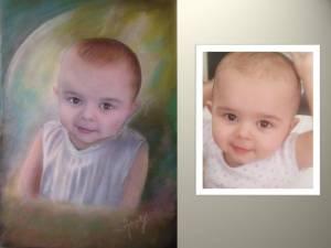 Portrait aux pastels à partir de photos 30x40cm